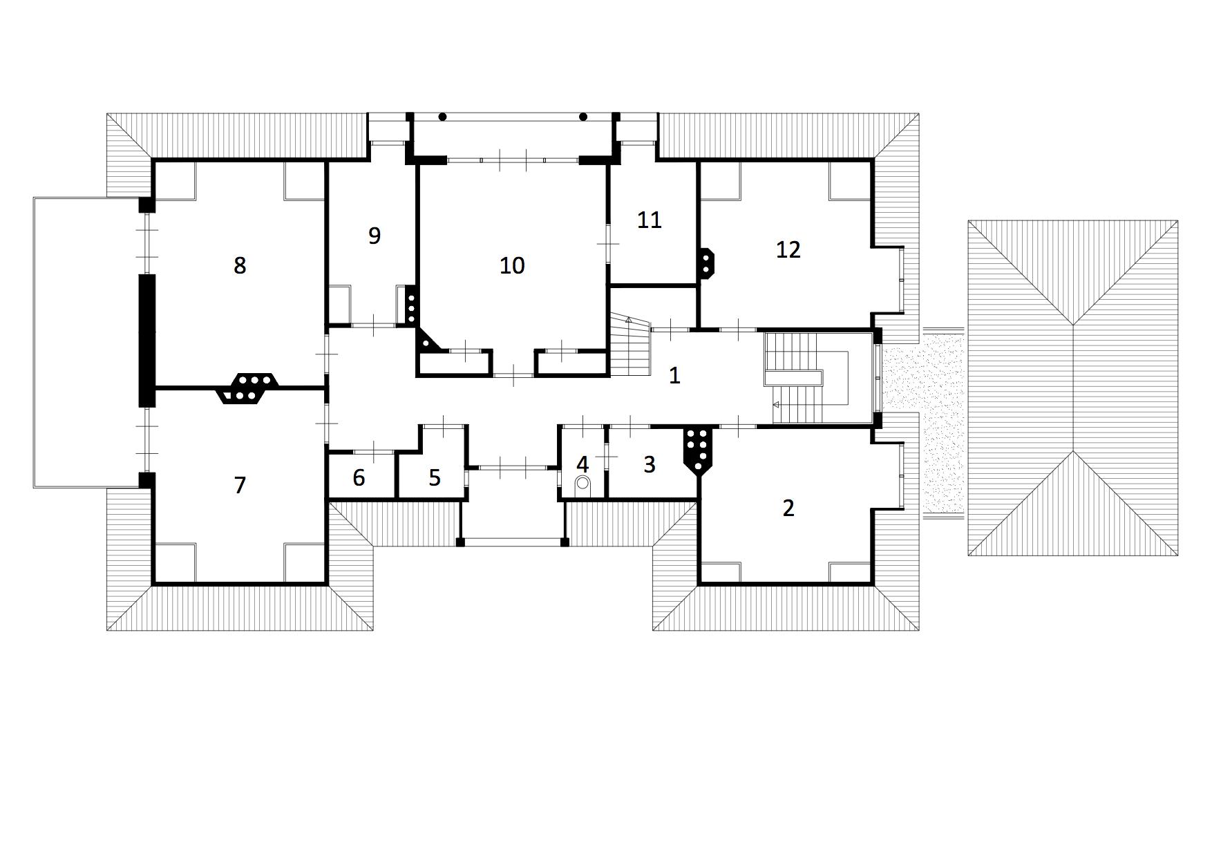 simple plattegrond verdieping op basis van de bestaande